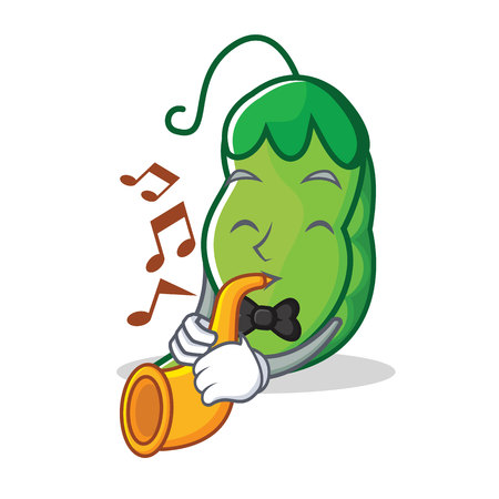 With trumpet peas mascot cartoon style 写真素材 - 93634556