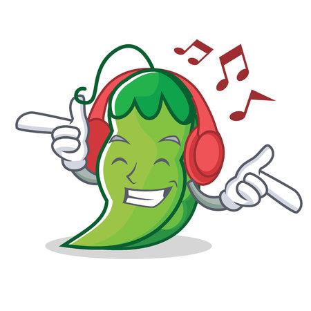 Listening music peas mascot cartoon style