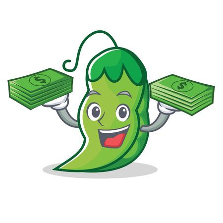 With money peas mascot cartoon style
