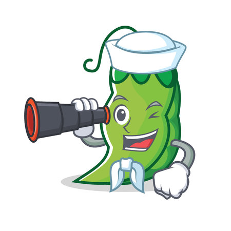 Sailor with binocular peas mascot cartoon style