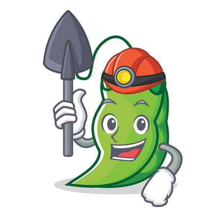Miner peas mascot cartoon style 写真素材 - 93634569