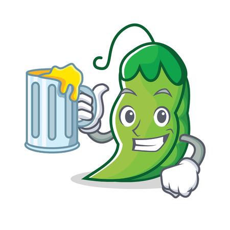 With juice peas mascot cartoon style