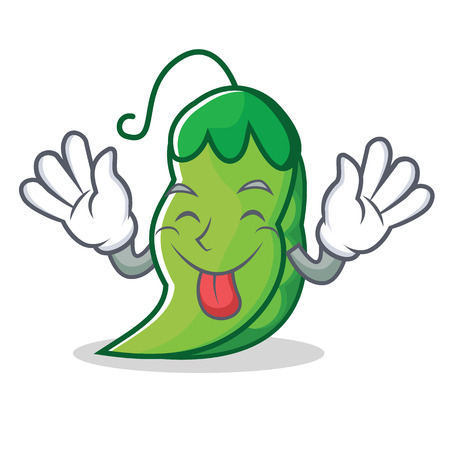 Tongue out peas mascot cartoon style Illustration