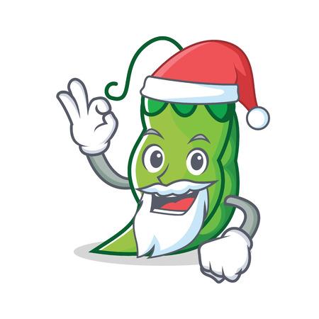Santa peas mascot cartoon style vector illustration