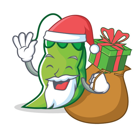 Santa with gift peas mascot cartoon style vector illustration 写真素材 - 93609910