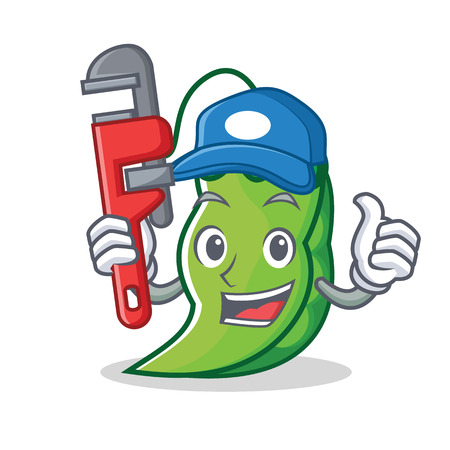 Plumber peas mascot cartoon style vector illustration 写真素材 - 93609916