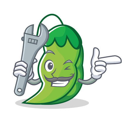 Mechanic peas mascot cartoon style Illustration