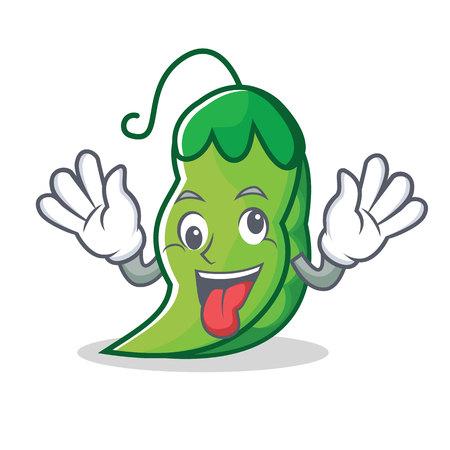 Crazy peas mascot cartoon style Illustration