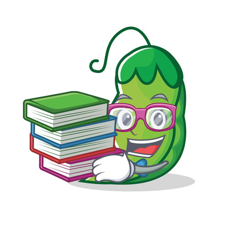 Student with book peas mascot cartoon style vector illustration