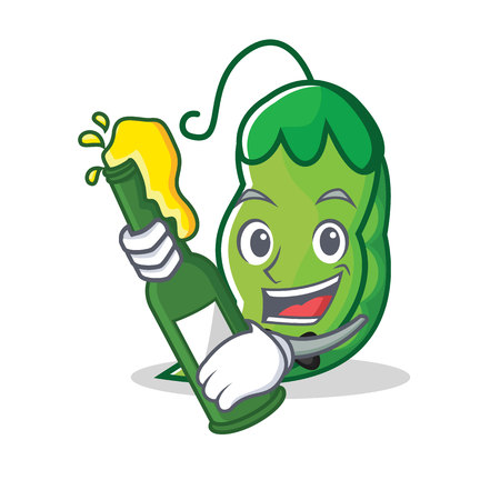 With beer peas mascot cartoon style vector illustration