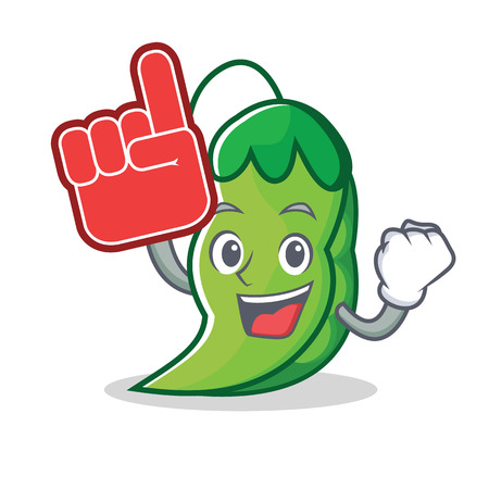 Foam finger peas mascot cartoon style vector illustration  イラスト・ベクター素材