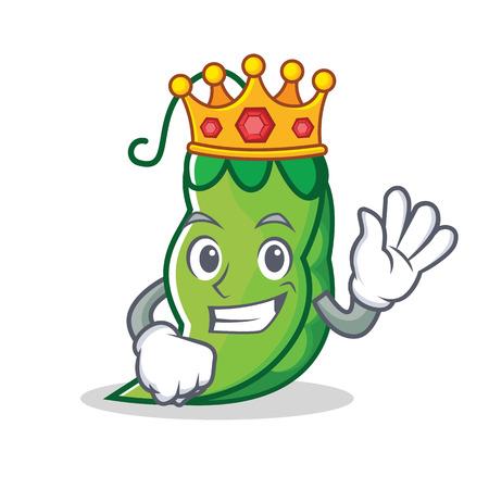 King peas mascot cartoon style vector illustration