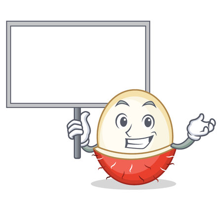 Bring board rambutan character cartoon style illustration.