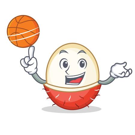 With basketball rambutan character cartoon style vector illustration