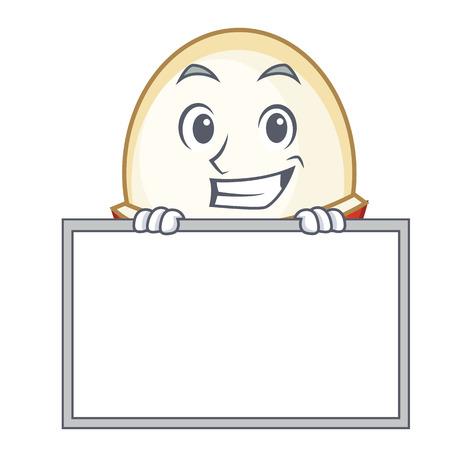 Grinning with board rambutan character cartoon style vector illustration