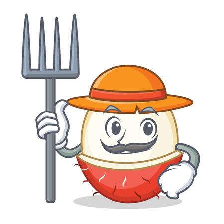 Farmer rambutan character cartoon style illustration.