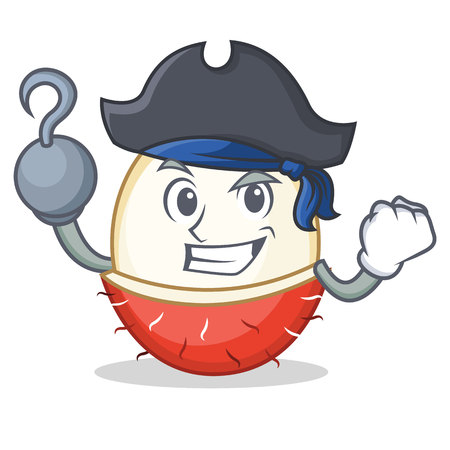 Pirate rambutan character cartoon style illustration. Illustration