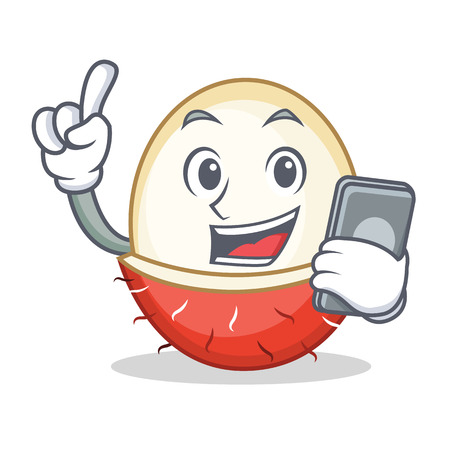 With phone rambutan character cartoon style Illustration