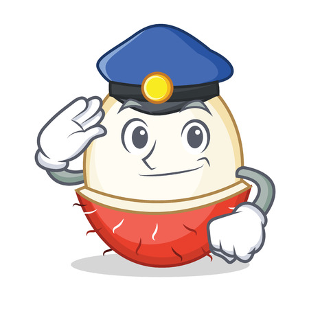Police rambutan character cartoon style