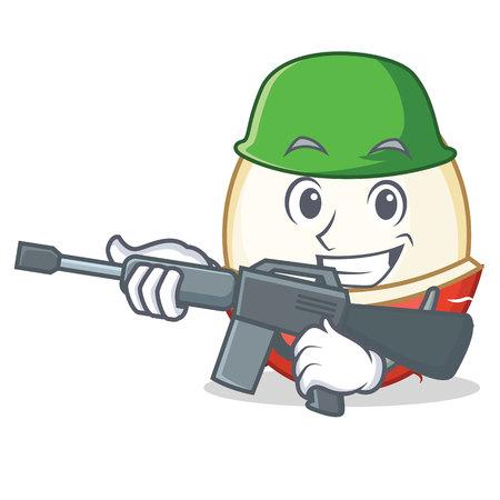 Army rambutan character cartoon style Illustration