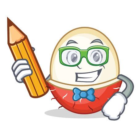Student rambutan character cartoon style vector illustration