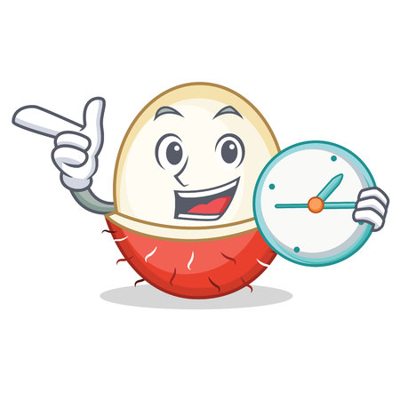 With clock rambutan character cartoon style vector illustration
