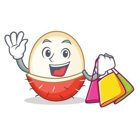 Shopping rambutan character cartoon style vector illustration Illustration