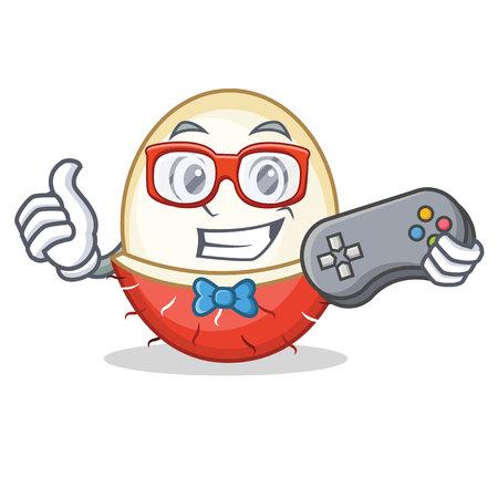 Gamer rambutan mascot cartoon style vector illustration