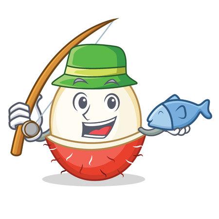 Fishing rambutan mascot cartoon style vector illustration Illustration