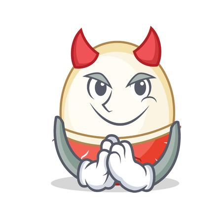 Devil rambutan mascot cartoon style vector illustration.