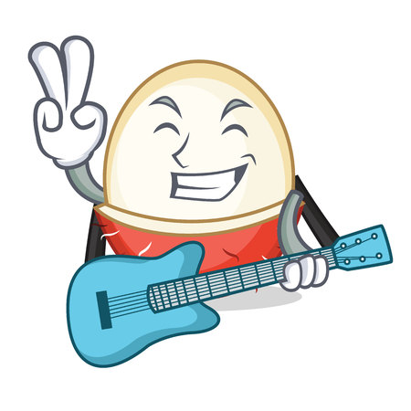 With guitar rambutan mascot cartoon style vector illustration Illustration