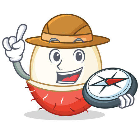 Explorer rambutan mascot cartoon style vector illustration