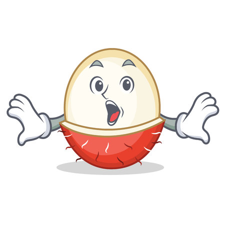 Surprised rambutan mascot cartoon style vector illustration