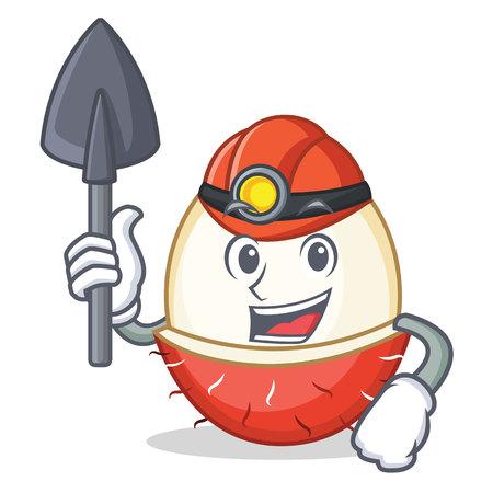 Miner rambutan mascot cartoon style vector illustration
