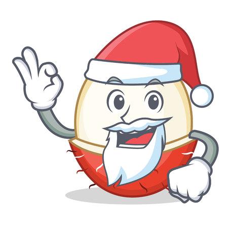 Santa rambutan mascot cartoon style vector illustration. Illustration