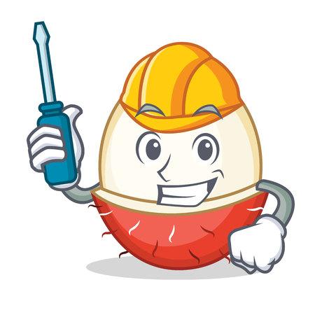 Automotive rambutan mascot cartoon style vector illustration.
