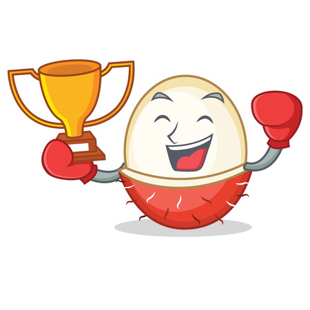 Boxing winner rambutan mascot cartoon style vector illustration.