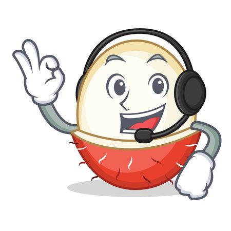 With headphone rambutan mascot cartoon style vector illustration. Illustration