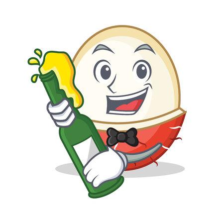 With beer rambutan mascot cartoon style vector illustration. Illustration