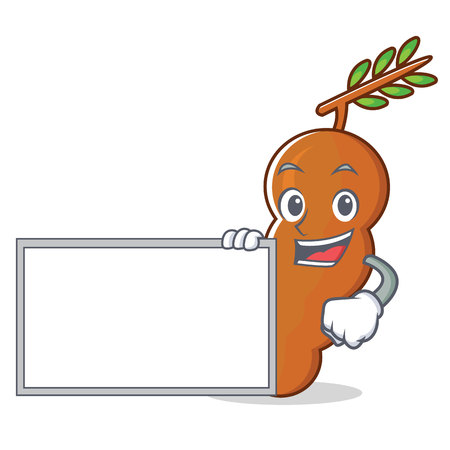 With board tamarind character cartoon style vector illustration