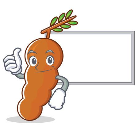 Thumb up with board tamarind character cartoon style