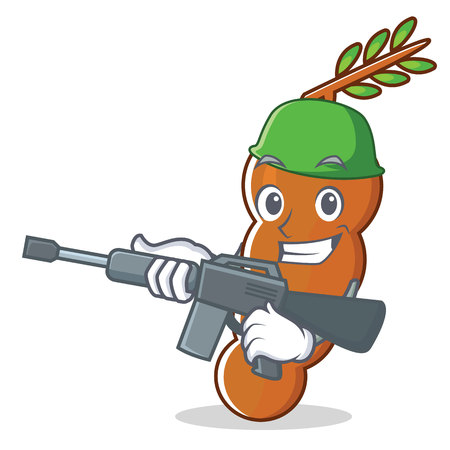 Army tamarind character cartoon style