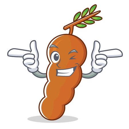 Wink tamarind character cartoon style Illustration
