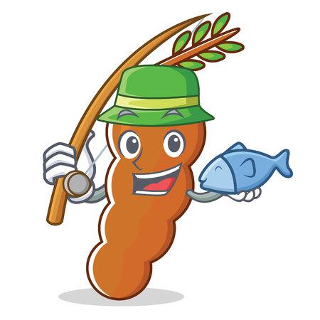 Fishing tamarind mascot cartoon style.