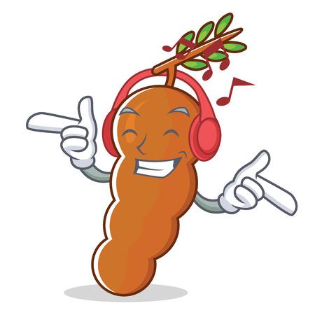 écoute musique tamarin mascotte de style de dessin animé illustration vectorielle