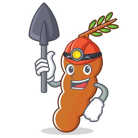 Miner tamarind mascot cartoon style vector illustration
