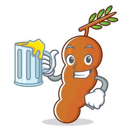 With juice tamarind mascot cartoon style vector illustration