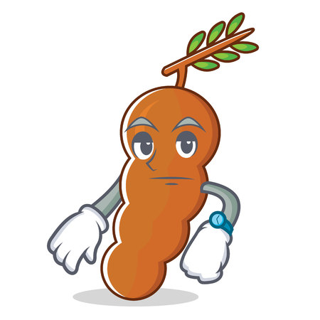 Waiting tamarind mascot cartoon style vector illustration