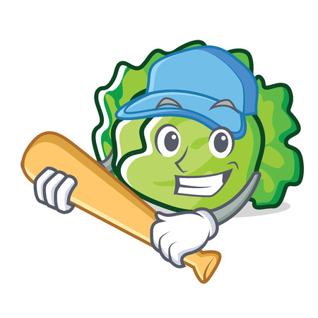 Playing baseball lettuce character cartoon style vector illustration Çizim