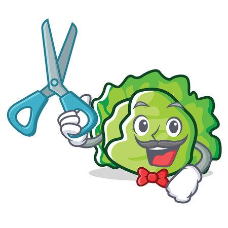 Barber lettuce character cartoon style vector illustration